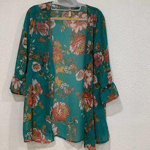 Xhilaration Semi Sheer Floral Kimono Caftan Size S
